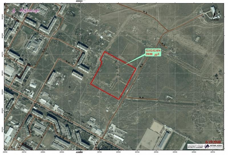 ქალაქ რუსთავში, XVIII მიკრო/რაიონის მიმდებარე ტერიტორიაზე არსებული 33080.00 კვ.მ. არასასოფლო-სამეურნეო დანიშნულების მიწის ნაკვეთი